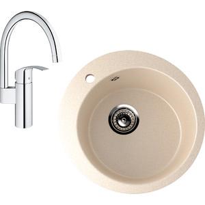 Кухонная мойка и смеситель EcoStone ES-013 Grohe Eurosmart бежевая (ES-13-328, 33202002)
