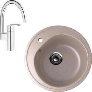 Кухонная мойка и смеситель EcoStone ES-011 Grohe Eurosmart песочная (ES-11-302, 33202002)