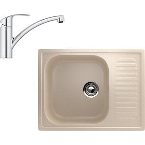 Кухонная мойка и смеситель EcoStone ES-018 Grohe Eurosmart бежевая (ES-18-328, 33281002)