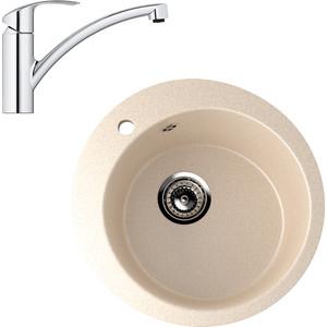 Кухонная мойка и смеситель EcoStone ES-013 Grohe Eurosmart бежевая (ES-13-328, 33281002)