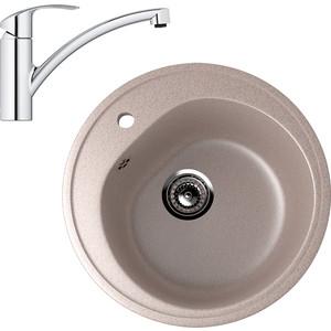 Кухонная мойка и смеситель EcoStone ES-011 Grohe Eurosmart песочная (ES-11-302, 33281002)