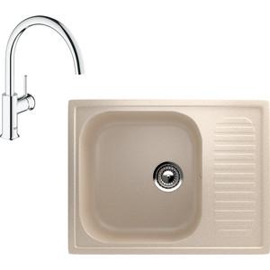 Кухонная мойка и смеситель EcoStone ES-018 Grohe BauClassic бежевая (ES-18-328, 31234000)