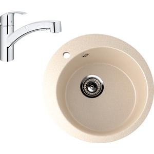 Кухонная мойка и смеситель EcoStone ES-013 Grohe Eurosmart бежевая (ES-13-328, 30305000)