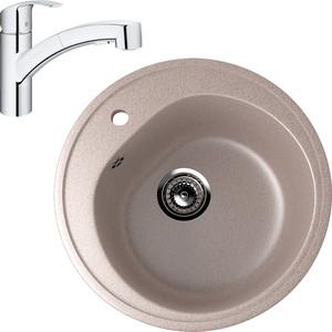 Кухонная мойка и смеситель EcoStone ES-011 Grohe Eurosmart песочная (ES-11-302, 30305000)