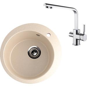 Кухонная мойка и смеситель EcoStone ES-013 Kaiser Decor бежевая (ES-13-328, 40144)
