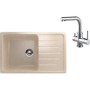 Кухонная мойка и смеситель EcoStone ES-019 Lemark Comfort бежевая (ES-19-328, LM3061C)