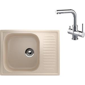 Кухонная мойка и смеситель EcoStone ES-018 Lemark Comfort бежевая (ES-18-328, LM3061C)