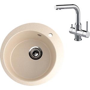 Кухонная мойка и смеситель EcoStone ES-013 Lemark Comfort бежевая (ES-13-328, LM3061C)