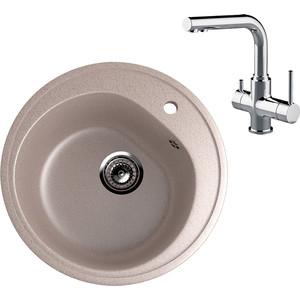 Кухонная мойка и смеситель EcoStone ES-011 Lemark Comfort песочная (ES-11-302, LM3061C)