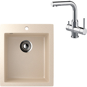 Кухонная мойка и смеситель EcoStone ES-014 Lemark Comfort бежевая (ES-14-328, LM3061C)