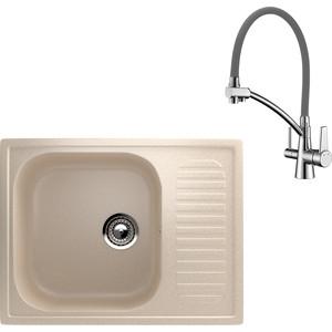 Кухонная мойка и смеситель EcoStone ES-018 Lemark Comfort бежевая (ES-18-328, LM3071C-Gray)