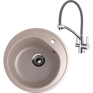Кухонная мойка и смеситель EcoStone ES-011 Lemark Comfort песочная (ES-11-302, LM3071C-Gray)