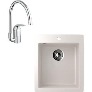 Кухонная мойка и смеситель EcoStone ES-014 Grohe Euroeco белая (ES-14-331, 32752000)