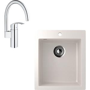 Кухонная мойка и смеситель EcoStone ES-014 Grohe Eurosmart белая (ES-14-331, 33202002)
