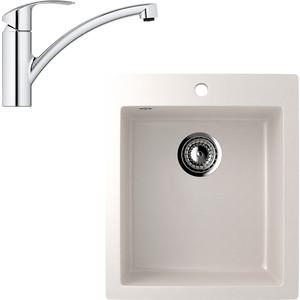 Кухонная мойка и смеситель EcoStone ES-014 Grohe Eurosmart белая (ES-14-331, 33281002)