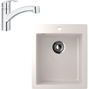 Кухонная мойка и смеситель EcoStone ES-014 Grohe Eurosmart белая (ES-14-331, 30305000)