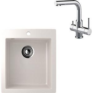 Кухонная мойка и смеситель EcoStone ES-014 Lemark Comfort белая (ES-14-331, LM3061C)