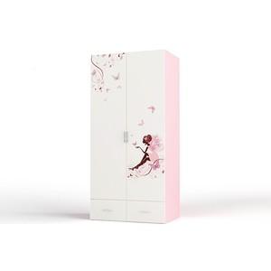 Шкаф 2-х дверный ABC-KING Фея без зеркал розовый