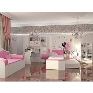 Кровать-классика ABC-KING Фея розовая кожа/стразы Сваровски 160x90 без ящика