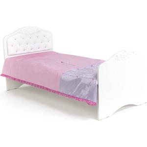 Кровать-классика ABC-KING Princess №2 белая кожа/стразы Сваровски 190x90 без ящика