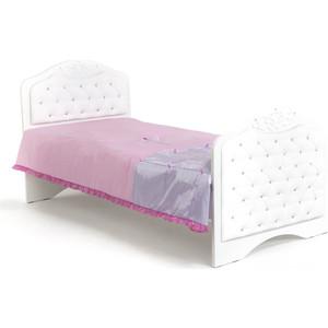 Кровать-классика ABC-KING Princess №3 белая кожа/стразы Сваровски 160x90 без ящика