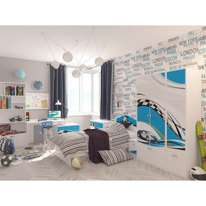 Кровать-классика ABC-KING La-Man с рисунком 160x90 без ящика голубой