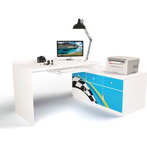 Стол модульный Г тумба ABC-KING 400+800 La-Man правый голубой