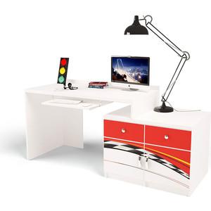 Стол модульный Г тумба ABC-KING 400+400 La-Man правый красный