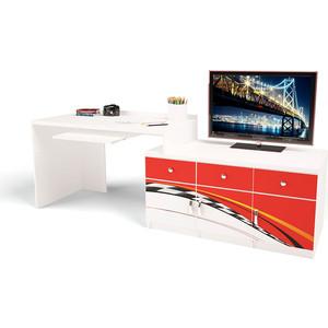 Стол модульный Г тумба ABC-KING 400+800 La-Man правый красный