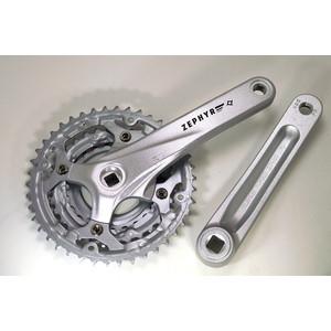 Шатуны для велосипеда PROWHEEL система ZEPHYR-600*175mm, (42/32/24)AL-6061-T6, CHAINLINE:50, BCD:104/64, под квадрат, серебристый