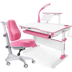 Комплект мебели (стол+полка+кресло+чехол+лампа) Mealux Evo-30 PN (Evo-30 + Y-528 KP) белая столешница дерево/розовый
