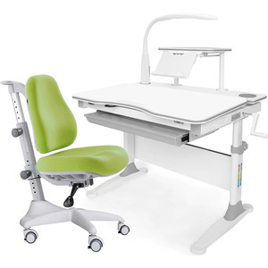 Комплект мебели (стол+полка+кресло+чехол+лампа) Mealux Evo-30 G (Evo-30 + Y-528 KZ) белая столешница дерево/серый
