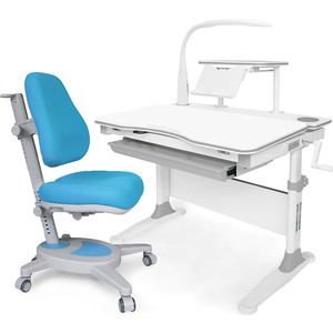 Комплект (стол+полка+кресло+чехол+лампа) Mealux Evo-30 G (Evo-30 + Y-110 KBL) белая столешница (дерево/серый