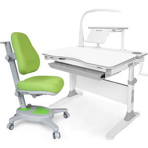 Комплект (стол+полка+кресло+чехол+лампа Mealux Evo-30 G (Evo-30 + Y-110 KZ) белая столешница дерево/серый