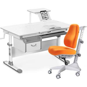 Комплект мебели (стол+полка+кресло+чехол) Mealux Evo-40 G (Evo-40 + Y-528 KY) белая столешница/серый