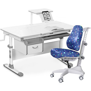 Комплект мебели (стол+полка+кресло+чехол) Mealux Evo-40 G (Evo-40 + Y-528 F) белая столешница/серый