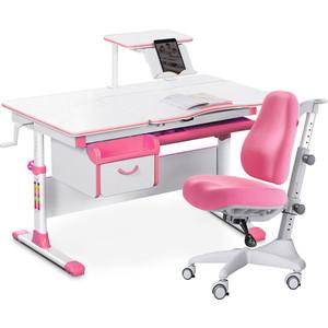 Комплект мебели (стол+полка+кресло+чехол) Mealux Evo-40 PN (Evo-40 + Y-528 KP) белая столешница/розовый