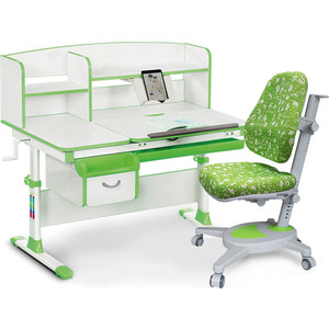 Комплект (стол+полка+кресло+чехол) Mealux Evo-50 Z (Evo-50 + Y-110 AZK) белая столешница/зеленый