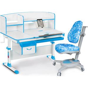 Комплект (стол+полка+кресло+чехол) Mealux Evo-50 BL (Evo-50 + Y-110 ABK) белая столешница/голубой