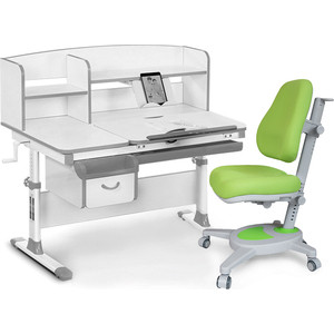 Комплект (стол+полка+кресло+чехол) Mealux Evo-50 G (Evo-50 + Y-110 KZ) белая столешница/серый