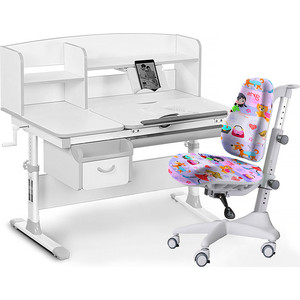 Комплект мебели (стол+полка+кресло+чехол) Mealux Evo-50 G (Evo-50 + Y-528 GL) белая столешница/серый