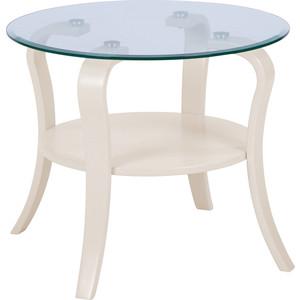 Стол журнальный Мебелик Аннет бежевый/стекло прозрачное