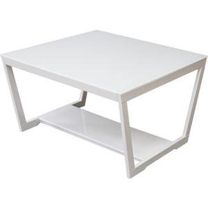 цена на Стол журнальный Мебелик BeautyStyle 1 белый глянец/стекло белое