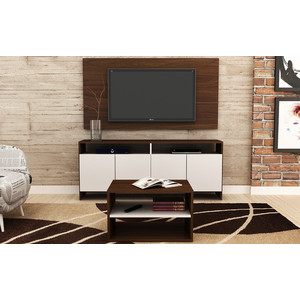Комплект Manhattan Comfort Sala de estar 1.0 br 399-192 nut brown/white