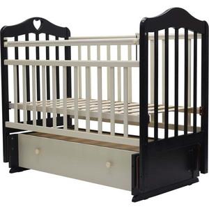 Кроватка Топотушки 120х60 ОЛИВИЯ-7 (арт.36) (с сердечком) универ.маятн/ящ. (венге/слоновая кость)