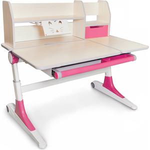 Стол Mealux Ontario pink Evo-600 WP столешница клен дерево/ножки белые с розовым