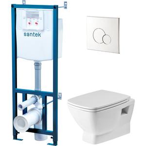 Комплект унитаза Santek Нео Пэк Rimless с инсталляцией, сиденьем и клавишей хром (1WH501572)