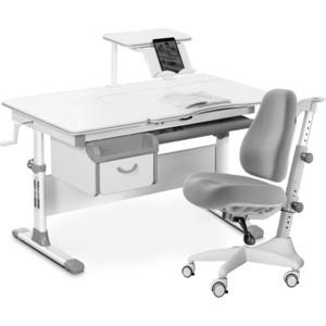 Комплект мебели (стол+полка+кресло+чехол) Mealux Evo-40 G (Evo-40 + Y-528 G) белая столешница/ пластик серый