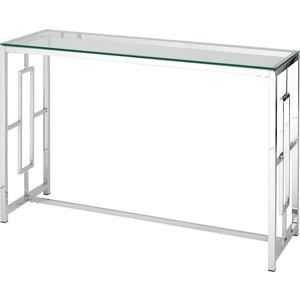 Консоль Stool Group Бруклин прозрачное стекло/сталь серебро ECST-013 (120x40)