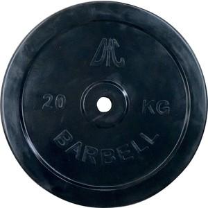Диск обрезиненный DFC черный. 26 мм. 20 кг диск обрезиненный star fit bb 202 посадочный диаметр 26 мм 0 5 кг